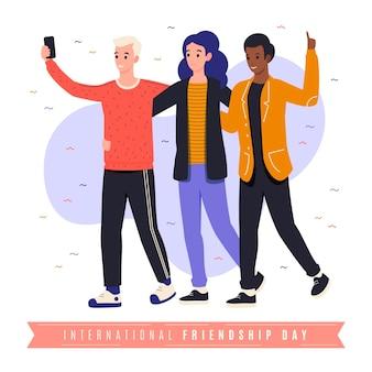 Ilustracja organiczny płaski międzynarodowy dzień przyjaźni