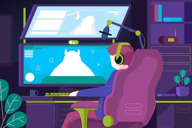 Ilustracja organiczny płaski pokój gracza