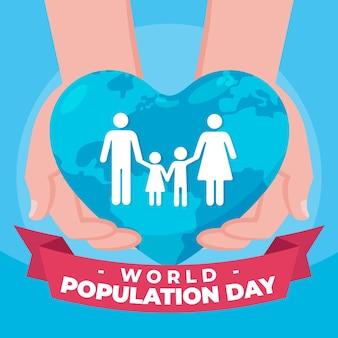 Ilustracja organiczny płaski światowy dzień ludności