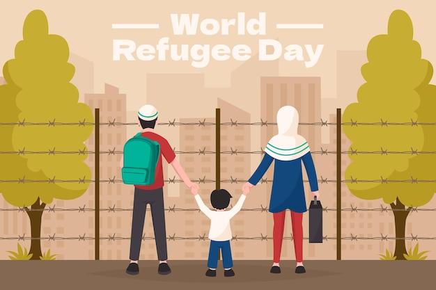 Ilustracja organiczny płaski światowy dzień uchodźcy