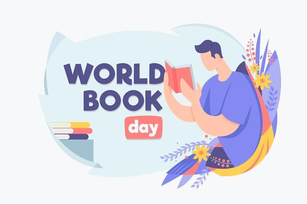 Ilustracja organiczny światowy dzień książki płaski
