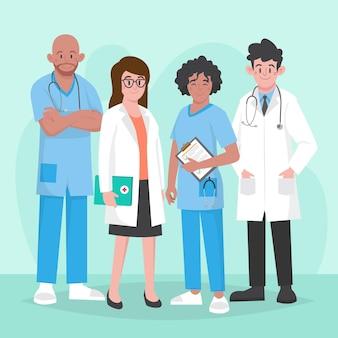 Ilustracja organicznych płaskich lekarzy i pielęgniarek