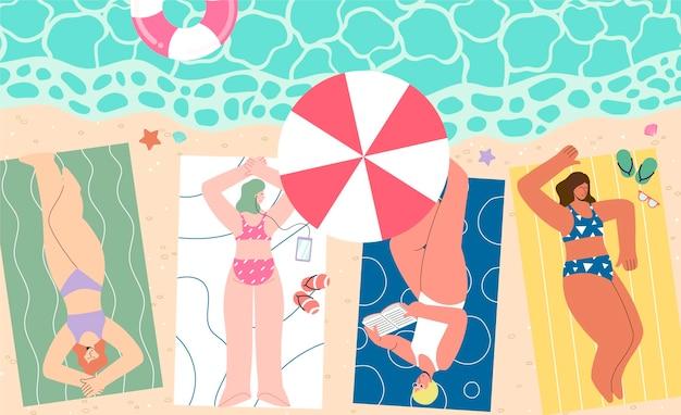 Ilustracja organicznych płaskich letnich scen