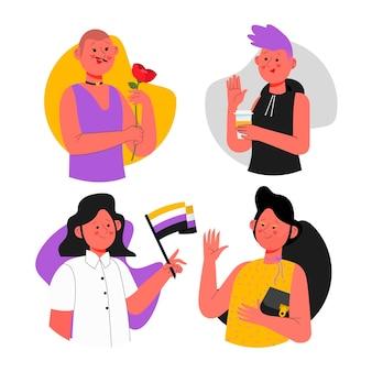 Ilustracja organicznych płaskich niebinarnych osób