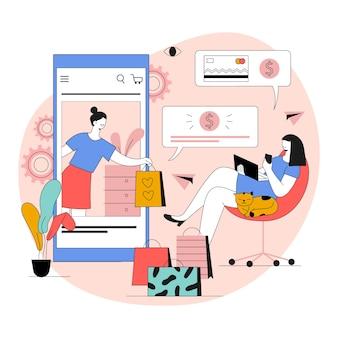 Ilustracja organicznych płaskich zakupów online