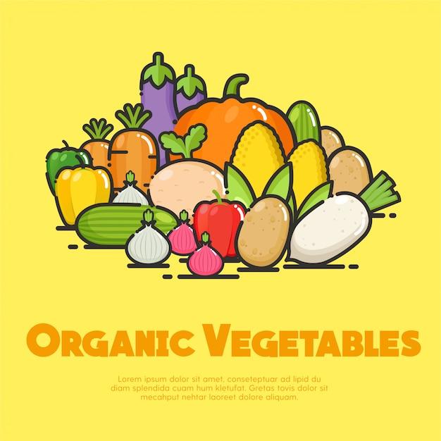 Ilustracja organicznych warzyw