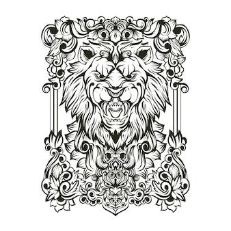 Ilustracja ornament czaszki lwa