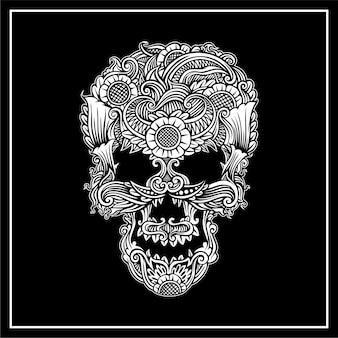 Ilustracja ornament czaszki
