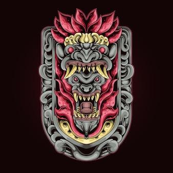 Ilustracja ornament diabeł fang