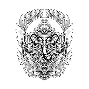 Ilustracja ornament ganesha