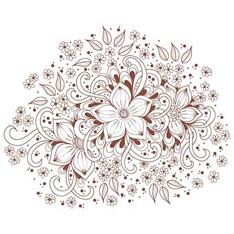 Ilustracja ornament mehndi. tradycyjny indyjski styl, ozdobne elementy kwiatowe