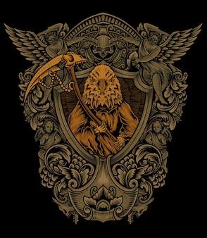 Ilustracja orzeł anioł śmierci z ornamentem vintage grawerowania
