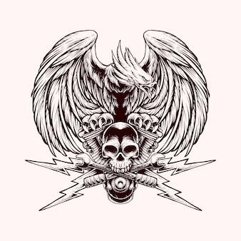 Ilustracja orzeł czaszka klucz silnika vintage z stylu grawerowania