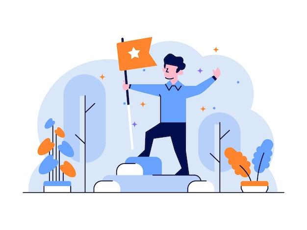 Ilustracja osiągnięcie biznesowe zwycięzca szczytu zwycięstwa najlepiej trzymający flagę płaski zarys stylu projektu