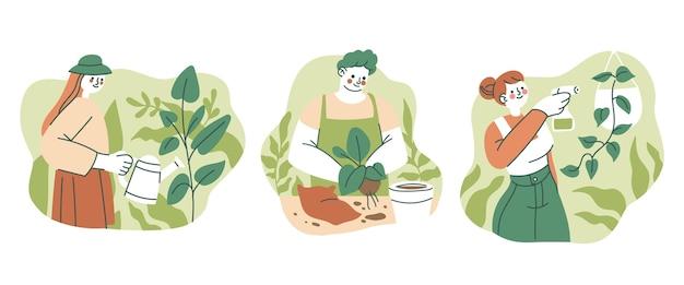 Ilustracja osób dbających o rośliny