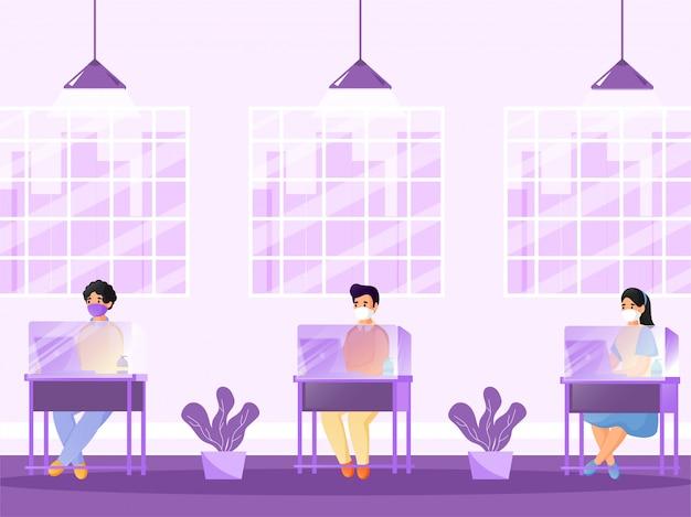 Ilustracja osób noszących maskę ochronną z laptopem przy oddzielnym stole z pleksiglasu, aby zapobiec koronawirusowi.