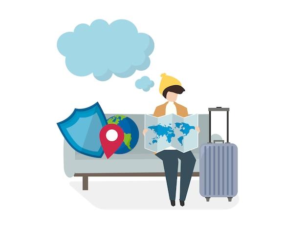 Ilustracja osób z ubezpieczeniem podróży