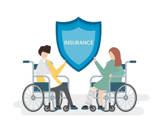 Ilustracja osób z usługą ubezpieczenia zdrowotnego