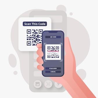 Ilustracja osoby skanującej kod qr za pomocą smartfona