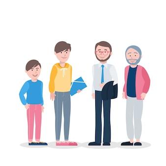 Ilustracja osoby w różnym wieku