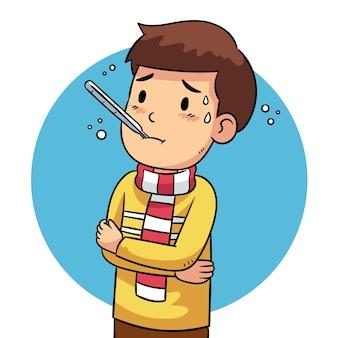 Ilustracja osoby z przeziębieniem