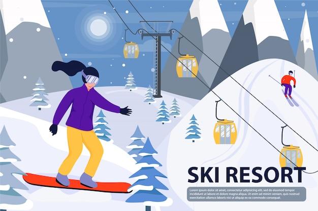 Ilustracja ośrodek narciarski z wyciągiem narciarskim, snowboardzista i narciarz. szablon tekstowy
