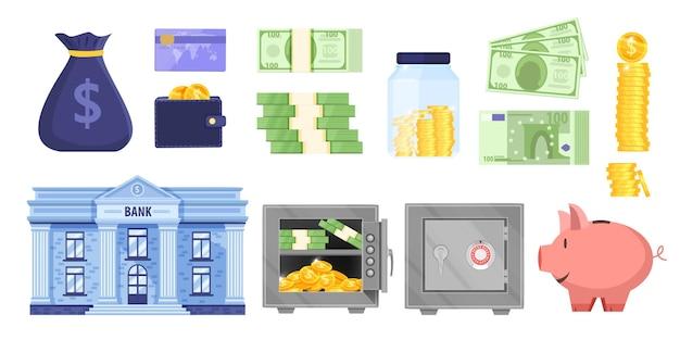 Ilustracja oszczędności banku pieniędzy lub budżetu