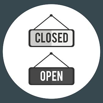 Ilustracja otwarty i zamknięty szyldowy wektor
