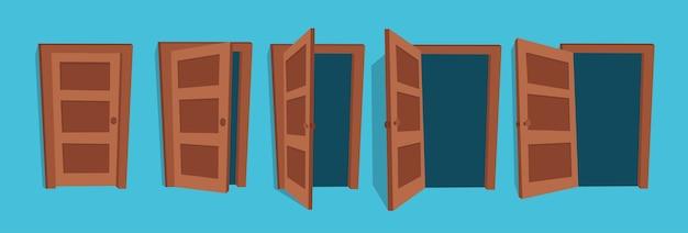 Ilustracja otwartych i zamkniętych drzwi.