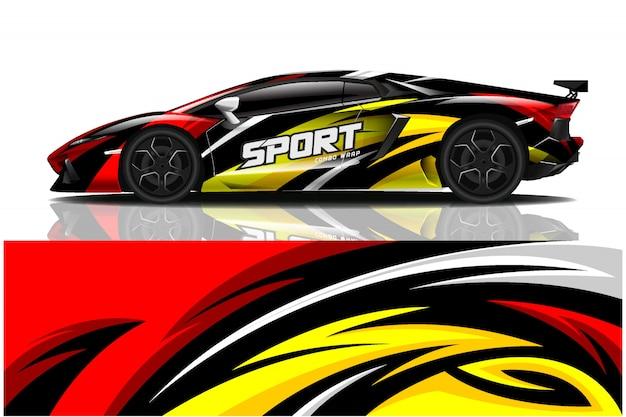 Ilustracja owinąć kalkomania samochód sportowy