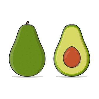Ilustracja owoce awokado.