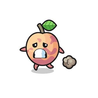 Ilustracja owocu pluot biegnącego w strachu, ładny styl na koszulkę, naklejkę, element logo