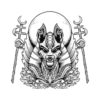 Ilustracja ozdoba głowy anubisa