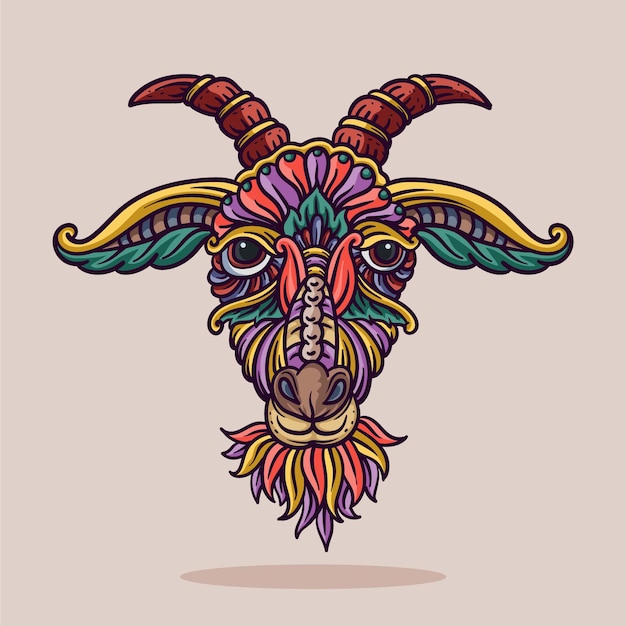 Ilustracja ozdoba głowy kozy z ilustracji wektorowych linii i kolorów