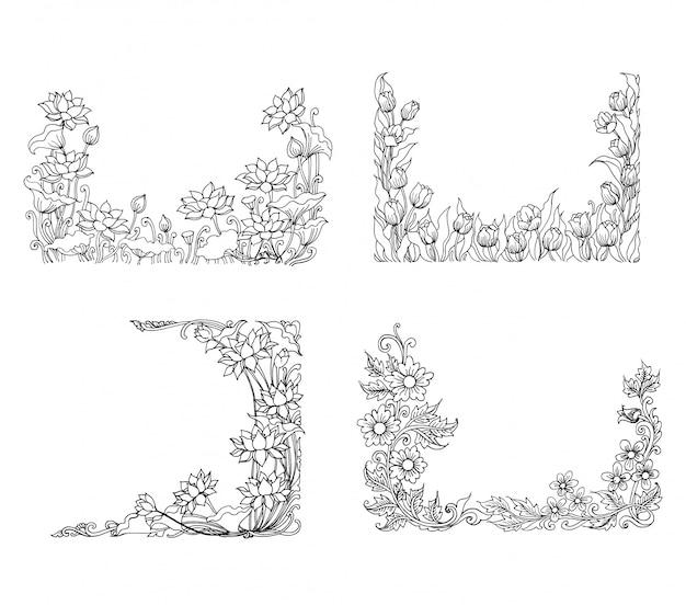 Ilustracja ozdobny szkic kwiatowy