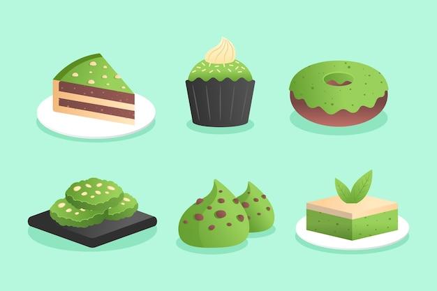Ilustracja paczki deserów matcha