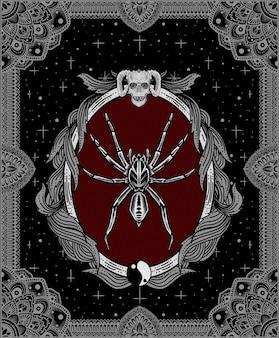 Ilustracja pająk na antycznym grawerowaniu ornament
