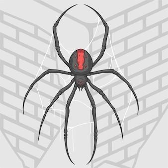 Ilustracja pająk na ścianie domu