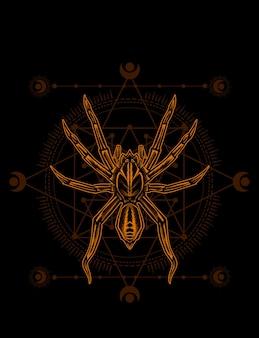 Ilustracja pająk ze świętą geometrią