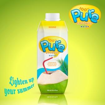 Ilustracja pakiet napoju wody kokosowej