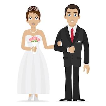 Ilustracja pan młody i panna młoda trzymają się za ręce, format eps 10