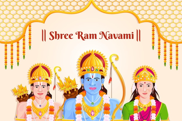 Ilustracja pana ramy, sity, laxmana, święto ram navami w indiach