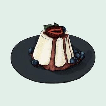 Ilustracja panacotta z jagodami