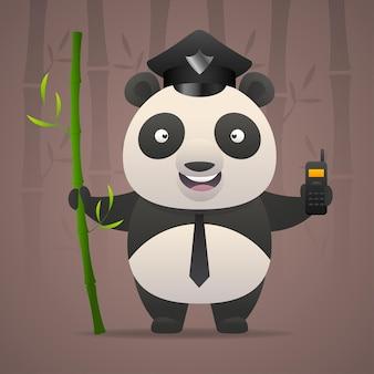 Ilustracja, panda policjant trzyma radiotelefon, format eps 10