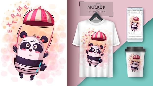 Ilustracja panda spadochronowa