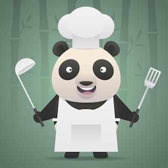Ilustracja, panda szef kuchni trzyma chochlę i łopatę, format eps 10