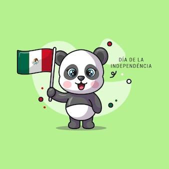 Ilustracja pandy trzymającej meksykańską flagę na dzień niepodległości