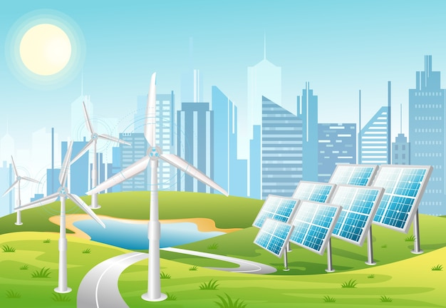 Ilustracja paneli słonecznych i turbin wiatrowych przed tłem miasta z zielonymi wzgórzami. eko zielony motyw miasta. koncepcja ekologicznej energii w stylu cartoon płaski.