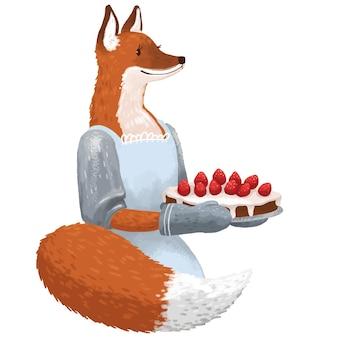 Ilustracja pani lisy w sukience zrobiła ciasto truskawkowe dla dzieci