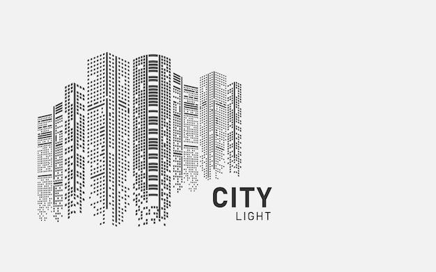 Ilustracja panoramę miasta krajobraz miejski utworzony przez położenie czarnych okien na białym backgrond